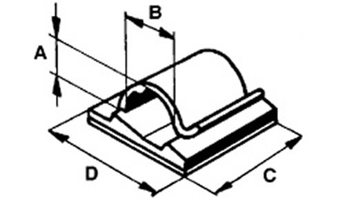 cable bracket, self-sticking 4mm